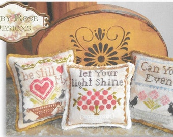 Counted Cross Stitch Pattern, Just Saying, Set 2, Be Still My Heart, Let Your Light Shine, Cottage Decor,  Abby Rose Designs, PATTERN ONLY