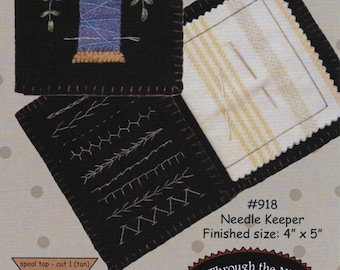 Wool Applique Pattern, Needle Keeper, Embroidery, Sewing Organizer, Wool Organizer, All Through the Night, Bonnie Sullivan, PATTERN ONLY