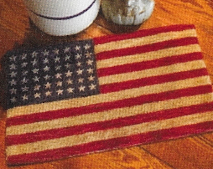 Featured listing image: Punch Needle Pattern, 48 Star Flag, Primitive Decor, Patriotic, Americana, American Flag. Independence, The Old Tattered Flag, PATTERN ONLY