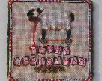 Counted Cross Stitch, Baa, Baa Pull Along, Christmas Ornament, Christmas Sheep Pull Toy, Toys in the Attic, Blackberry Lane Designs, PATTERN