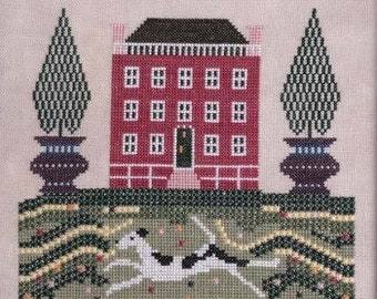 Counted Cross Stitch Pattern, House and Hound, Reproduction Sampler, Mid-Atlantic Sampler, Samplers Revisited, PATTERN ONLY
