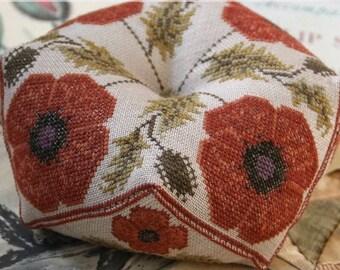 Counted Cross Stitch Pattern, Flanders Fields Biscornu, Biscornu Pincushion, Garden Decor, Cottage Chic, Heartstring Samplery, PATTERN ONLY