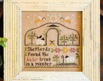 Counted Cross Stitch Pattern, Born in a Manger, Christmas Decor, Nativity, Cross Stitch, Scripture, Little House Needlework, PATTERN ONLY