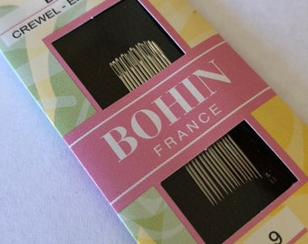 Embroidery Needles, Crewel Needles, Bohin, #9 Embroidery Needles, Crewel Embroidery, Hand Stitchery, Heirloom Embroidery, Fine Point Needles