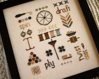 Counted Cross Stitch Pattern, A Spinner's Sampler, Spinning, Yarn, Sampler, Spinning Wheel, October House Fiber Arts, PATTERN ONLY