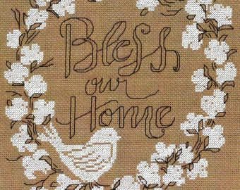 Counted Cross Stitch Pattern, Bless Our Home, Cross Stitch, Wedding Gift, Home Decor, Wedding Signs, Housewarming, Imaginating, PATTERN ONLY