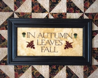 Counted Cross Stitch Pattern, Leaves Fall, Autumn Leaves, Fall Decor, Primitive, Lucy Beam, Love in Stitches, Rebecca Noland, PATTERN ONLY
