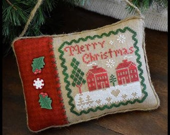 Counted Cross Stitch, Merry Christmas Pillow, Christmas Ornament, Christmas Pillow, Peppermint, Little HOuse Needleworks, PATTERN ONLY