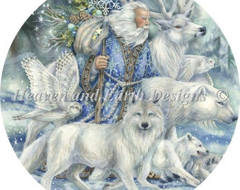 Counted Cross Stitch Pattern, Walk as One, Winter Decor, Wolves, Owl, Father Christmas, Jody Bergsma, Heaven and Earth Designs, PATTERN ONLY