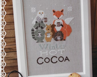 Counted Cross Stitch Pattern, Winter Hot Cocoa, Fox, Owl, Raccoon, Squirrel, Hedgehog, Woodland, Madame Chantilly, PATTERN ONLY