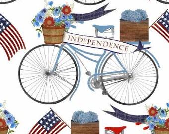 Quilt Fabric, American Spirit, Bicycle Parade, Patriotic Fabric, Americana, Cotton, Quilter Cotton, Premium Cotton, Beth Albert Fabric