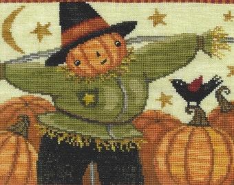 Counted Cross Stitch Pattern, Happy Scarecrow, Halloween Cross Stitch, Fall, Scarecrow, Pumpkins, Black Crow, Teresa Kogut, PATTERN ONLY