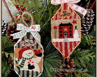 Punch Needle Pattern, Snowman & House, Christmas Ornaments, Snowman Ornament, Folk Art Decor, Primitive Decor, Teresa Kogut, PATTERN ONLY