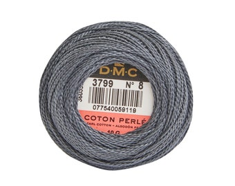 DMC Perle Cotton, Size 8, DMC 3799, VyDk Pewter, Pearl Cotton Ball, Embroidery Thread, Punch Needle, Embroidery, Penny Rug, Sewing Accessory
