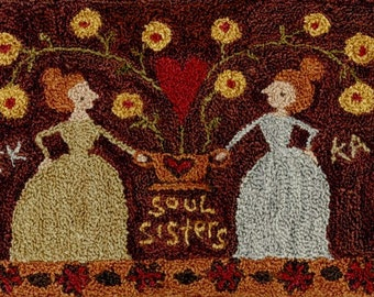 PRE-Order, Punch Needle Pattern, Soul Sisters, Folk Art Decor, Primitive Decor, Teresa Kogut, Punch Needle Embroidery, PATTERN ONLY