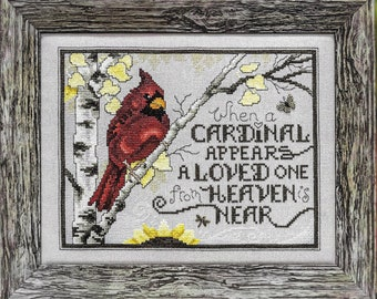 Counted Cross Stitch Pattern, Sign From Heaven, Cardinal, Inspirational, Winter Decor, Stoney Creek, PATTERN ONLY