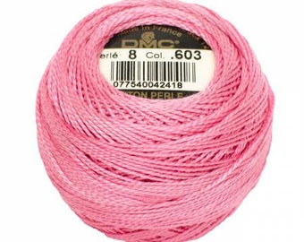 DMC Perle Cotton, Size 8, DMC 603, Pearl Cotton, Cranberry, Embroidery Thread, Embroidery Thread, Punch Needle, Penny Rugs, Sewing Accessory