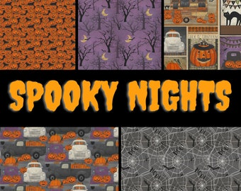Quilt Fabric, Spooky Nights, Halloween Fabric, Pumpkins, Spiders, White Pick-Up Trucks, Bats, Forest, Beth Albert, 3 Wishes Fabric