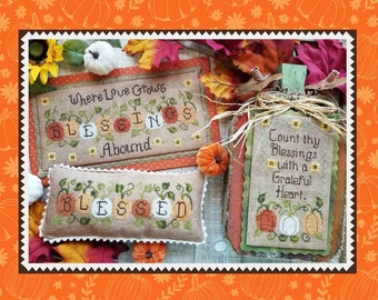 Counted Cross Stitch Pattern, Blessings Abound, Fall Decor, Inspirational, Pumpkins, Sampler, Pillows, Waxing Moon Designs, PATTERN ONLY