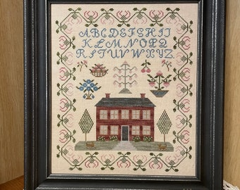Counted Cross Stitch Pattern, Berry Blossom Sampler,  Berry Motifs, Red House, Sampler, From the Heart Needleart, PATTERN ONLY