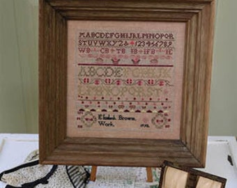 Counted Cross Stitch, A Loving Tribute to Family, Elizabeth Brown's Work 1792, Reproduction Sampler, 1897 Schoolhouse Samplers, PATTERN ONLY