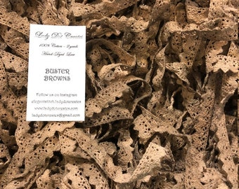 Cotton Lace Trim, Buster Browns, Lady Dot Creates, Hand Dyed Lace, Cotton Lace, Brown Lace, Sewing Notion, Sewing Accessory, Sewing Trim