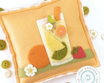 Pin Lovers, Citrus Shake-Up, Pin Mini, Orange Slice Pin Mini, Lime Slice Pin Mini, Flower Pin, June Pincushion, Just Another Button Company