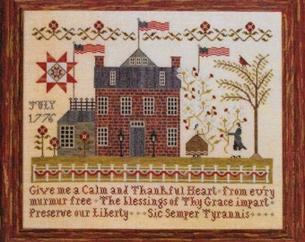 Counted Cross Stitch Pattern, American Sampler, Patriotic Cross Stitch, Primitive Decor, Independence, Plum Street Samplers, Pattern Only