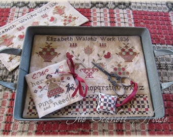 Counted Cross Stitch Pattern, Elizabeth Walsh's Work, Needlebook, Scissor Fob, Sewing Mat, Tray Mat, The Scarlett House, PATTERN ONLY