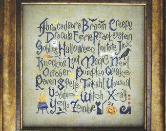 Counted Cross Stitch Pattern, Halloween Sampler, Halloween Decor, Bats, Black Cat, Crow, Pumpkin, Ghosts, Cottage Garden, PATTERN ONLY