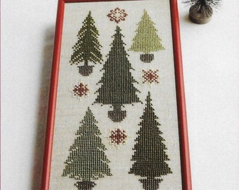 Counted Cross Stitch, Snowflakes Among the Pines, Winter Decor, Pine Trees, Snowflakes, Woodland Decor, AnnaLee Waite Designs, PATTERN ONLY