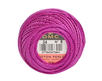 DMC Perle Cotton, Size 8, DMC 34, Dark Fuchsia, Pearl Cotton Ball, Embroidery Thread, Punch Needle, Embroidery, Penny Rug, Sewing Accessory