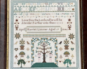 Counted Cross Stitch, Harriet Limmer, Sampler, Inspirational, Reproduction Sampler, Antique Reproduction, Hands to Work
