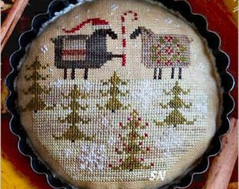 Counted Cross Stitch Pattern, Merry Ewe, Christmas Decor, Holiday Bowl Filler, Sheep, Primitive Decor, Plum Street Samplers PATTERN ONLY