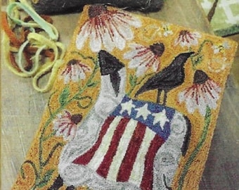 Punch Needle Pattern, Flagler and Caw, Primitive Decor, Patriotic Sheep, Black Crow, Coneflowers, The Old Tattered Flag, PATTERN ONLY