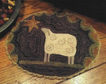 Punch Needle Pattern, The Wishing Star, Primitive Decor, Christmas Decor, Folk Art, Penny Rug, Sheep, The Old Tattered Flag, PATTERN ONLY