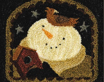 Punch Needle Pattern, A Home for Sparrow, Snowman, Winter Decor, Primitive Decor, Birdhouse, Teresa Kogut, Punch Needle, PATTERN ONLY