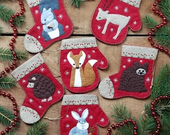 Wool Applique Pattern and Kit, Christmas Critters, Christmas Ornaments, Fox, Bunny, Wool Ornaments, Rachel's of Greenfield, PATTERN AND KIT