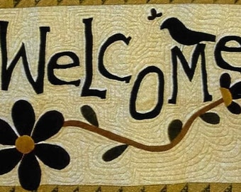 Wool Applique Pattern, Welcome, Spring Welcome, Spring Decor, Welcome Sign, Wall Hanging, Cottage Rose Quilt, Deb Eggers, PATTERN ONLY
