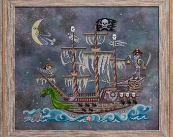 Counted Cross Stitch, Poltergeist Pirate, Pirate Ship, Halloween Decor, Ghosts, Scary Scene, Spooky, Glendon Place, PATTERN ONLY