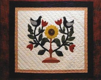 Wool Applique Pattern, Folk Art Friends,  Wall Hanging, Sunflower, Tulips, Bluebirds, Spring Decor, Betty Alderman, PATTERN ONLY