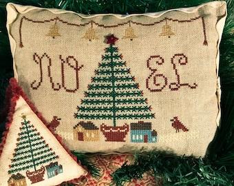 Cross Stitch Pattern, Feather Tree Noel, Merry Noel Collection, Pillow Ornament, Primitive Decor, Folk Art, Homespun Elegance, PATTERN ONLY