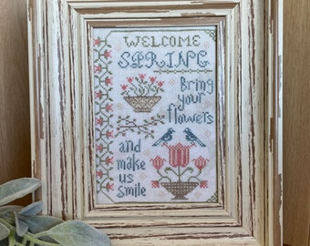 Counted Cross Stitch Pattern, Welcome Spring Sampler, Spring Decor, Tulips, From the Heart, NeedleArt by Wendy, PATTERN ONLY