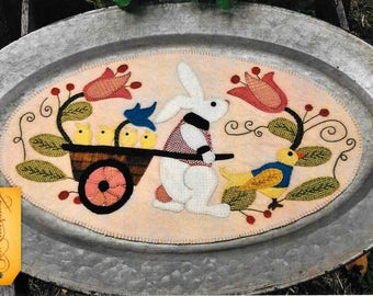 Wool Applique Pattern, Spring Fling, Table Mat, Easter Decor, Farmhouse, Rabbit, Primitive Decor, Wool Mat, Sew Cherished, PATTERN ONLY