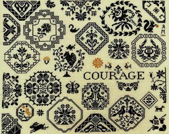 Counted Cross Stitch Pattern, Courage, Quaker Sampler, Rabbit, Squirrels, Swans, Birds, Acorns, Quaker Motifs, Dog, AuryTM, PATTERN ONLY
