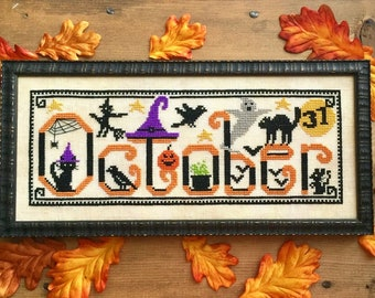 Counted Cross Stitch Pattern, Spooky October, Fall Decor, Halloween, Black Cat, Witch, Crows, Ghost, Bats, Luminous Fiber Arts, PATTERN ONLY
