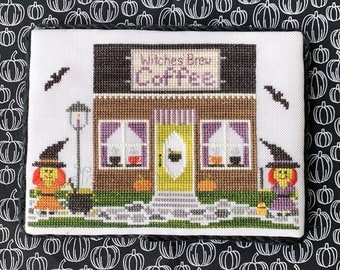 Counted Cross Stitch, Coffee Shop , Spooky Hollow Series, Halloween Decor, Witches, Bats, Cottage Chic, Little Stitch Girl, PATTERN ONLY