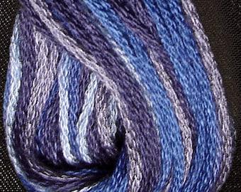 Valdani, 6 Strand Cotton Floss, M5, Denim Blues, Embroidery Floss, Variegated Floss, Hand Dyed Floss, Wool Applique, Punch Needle