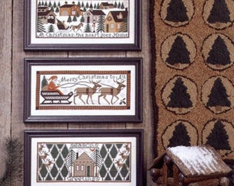 Counted Cross Stitch, Home For Christmas, Christmas Decor, Santa Sleigh, Country Winter Rustic, The Prairie Schooler,  PATTERN ONLY