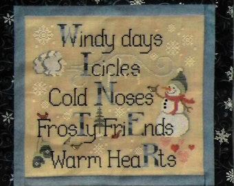 Counted Cross Stitch Pattern, Winter Things, Snowman, Winter Decor, Wall Hanging, Mittens, Cardinals, Waxing Moon Designs, PATTERN ONLY